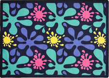 "Splat© Classroom Rug, 3'10"" x 5'4"" Rectangle Navy"
