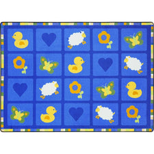 "Spring Things™ Blue Classroom Carpet, 5'4"" x 7'8"" Rectangle (Seats 20)"