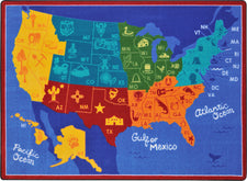 "States of the Nation© Classroom Rug, 5'4"" x 7'8"" Rectangle"