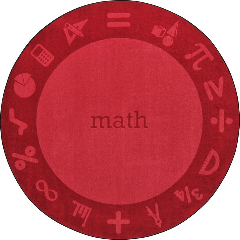 "STEAM™ Classroom Seating Rug, 7'7"" Round - Math"