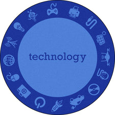 "STEAM™ Classroom Seating Rug, 7'7"" Round - Technology"