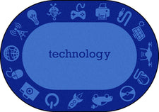 "STEAM™ Classroom Seating Rug, 7'8"" x 10'9"" Oval - Technology"