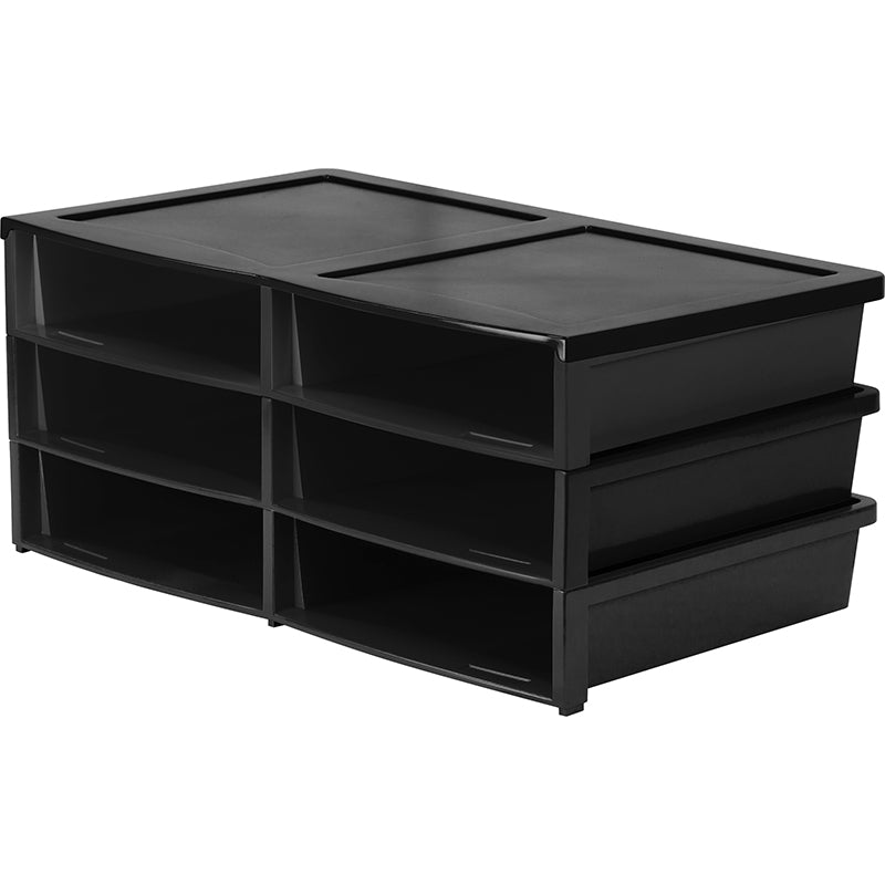 Quick Stack Organizer, 6 Compartments (Black)