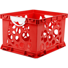 Premium File Crate with Handles, Red