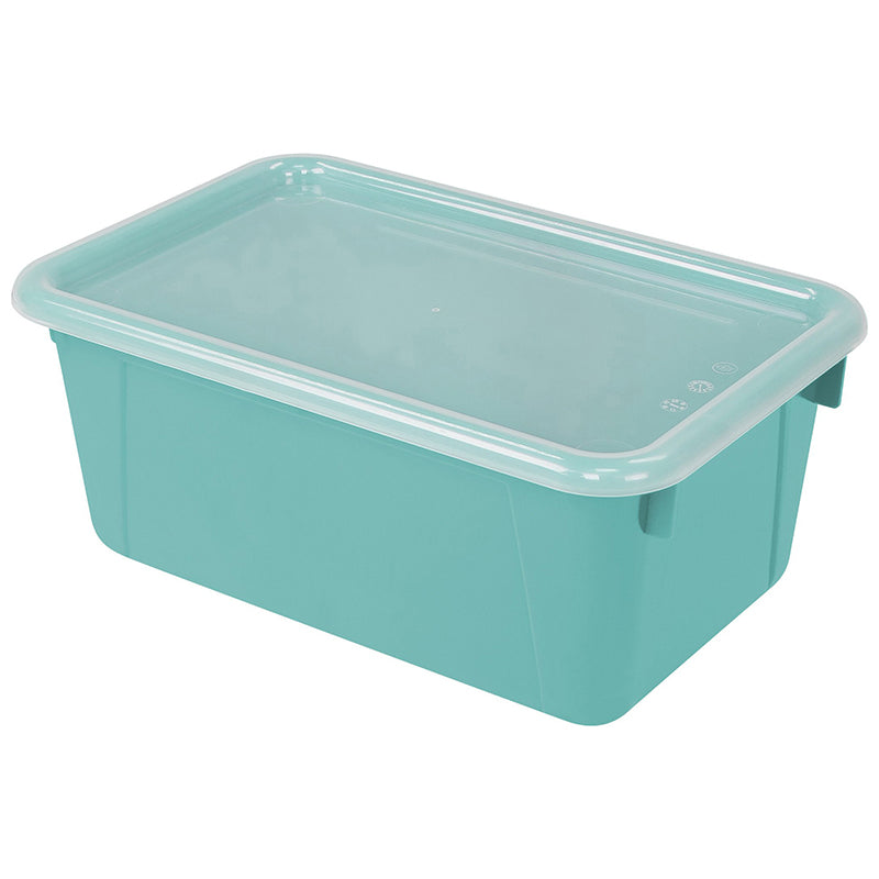Small Cubby Bin with Cover, Teal