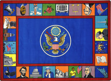 "Symbols of America© Classroom Circle Time Rug, 7'8"" x 10'9"" Rectangle"