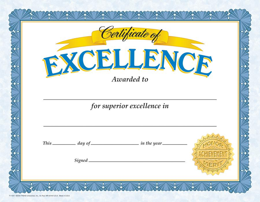 Certificate of Excellence Classic Certificates