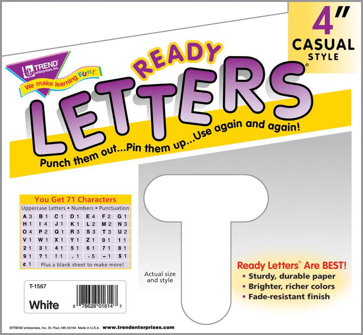 White 4-Inch Casual Uppercase Ready Letters®