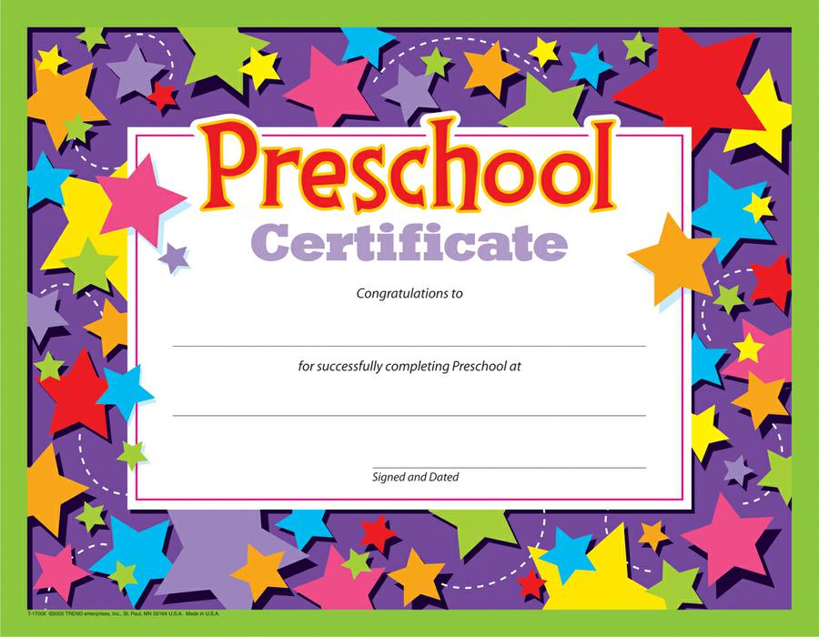 Preschool Certificate 30pk T 17006 Supplyme
