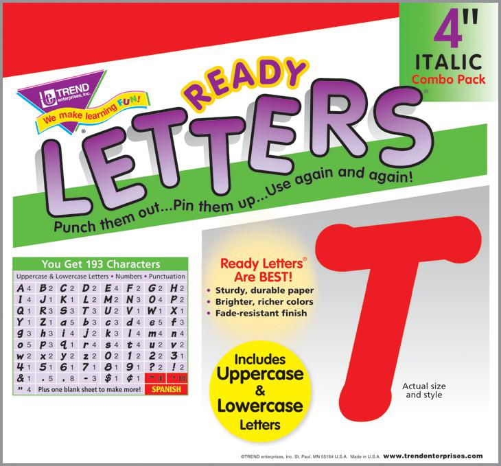 Red 4-Inch Italic Uppercase/Lowercase Combo Ready Letters®