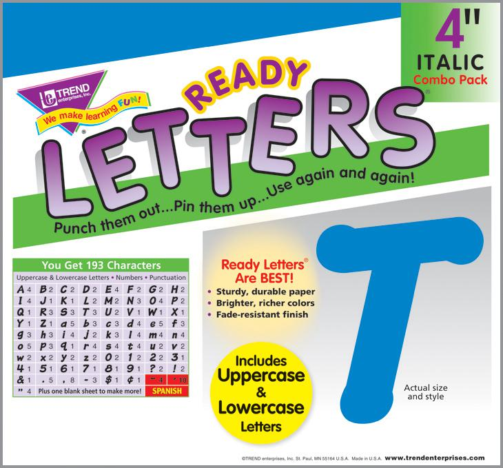Blue 4-Inch Italic Uppercase/Lowercase Combo Ready Letters®