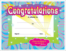 Congratulations/Swirls Colorful Classics Certificates