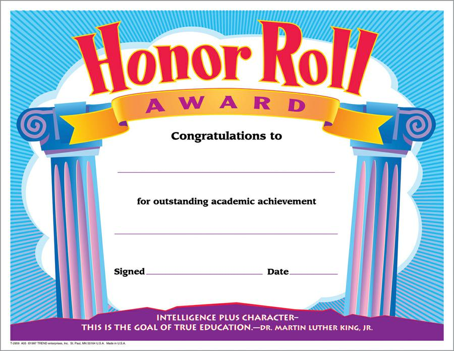 Honor Roll Award Colorful Classics Certificates