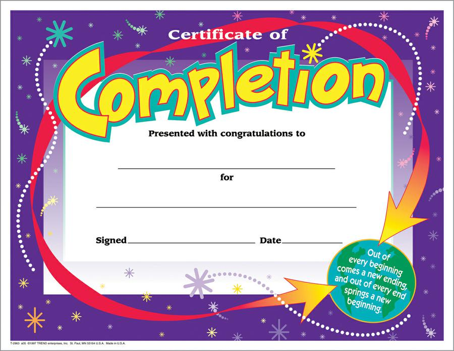 Certificate of Completion Colorful Classics Certificates