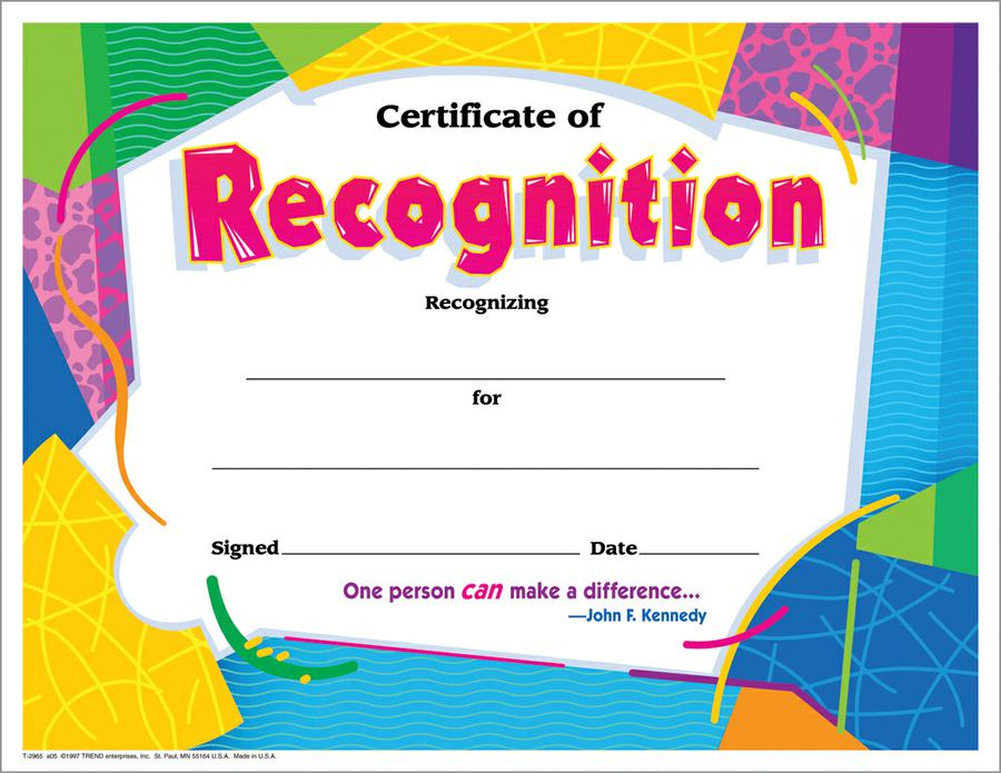 Certificate of Recognition Colorful Classics Certificates