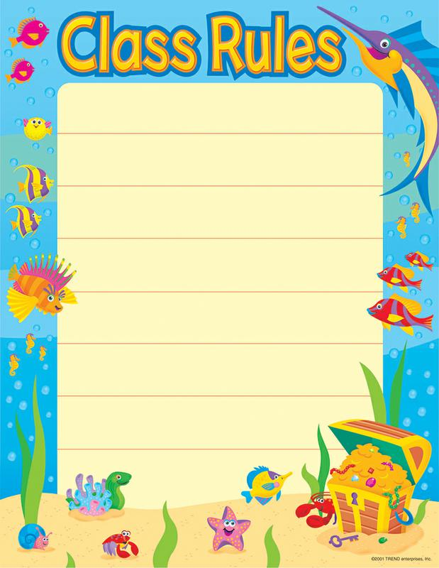 Trend Enterprises Under the Sea Class Rules Blank Learning Chart