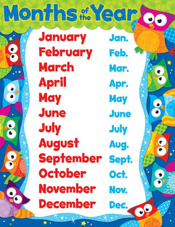 trend enterprises months of the year owl stars learning chart