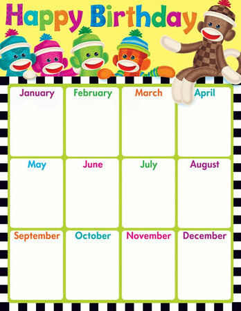 Trend Enterprises Birthday Sock Monkeys Learning Chart