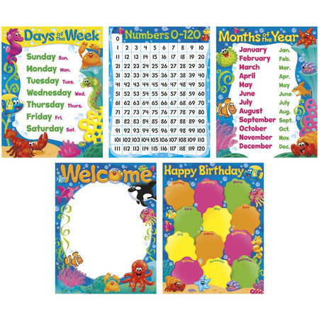 Classroom Basics Sea BuddiesTM Learning Charts Combo Pack