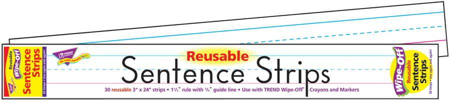 Wipe-Off® Sentence Strips, 24-Inch White
