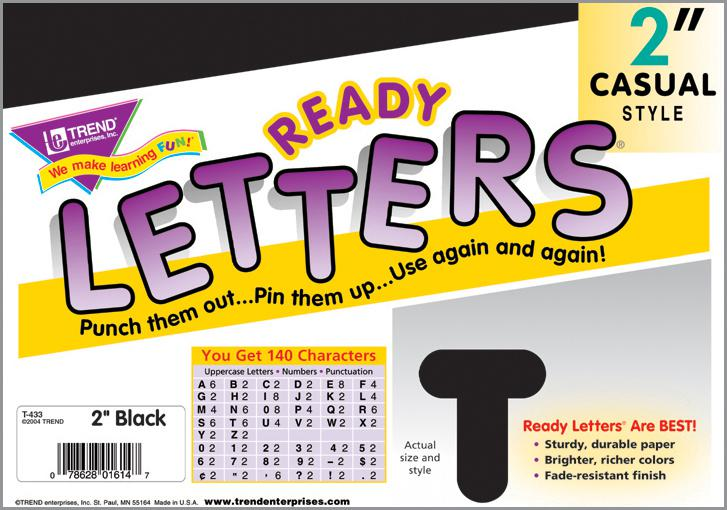 Black 2-Inch Casual Uppercase Ready Letters®