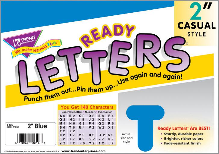 Blue 2-Inch Casual Uppercase Ready Letters®