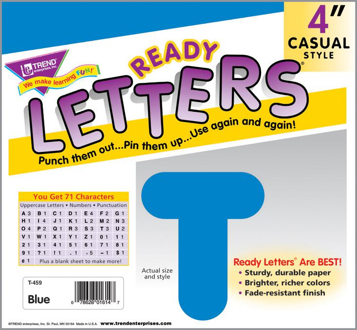 Blue 4-Inch Casual Uppercase Ready Letters®
