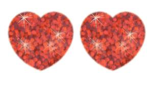 Red Hearts superSpots® Stickers–Sparkle