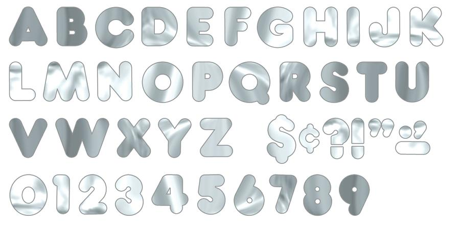 Silver Metallic 4-Inch Casual Uppercase Ready Letters®