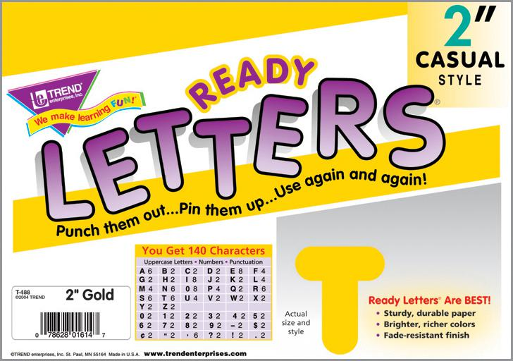 Gold 2-Inch Casual Uppercase Ready Letters®