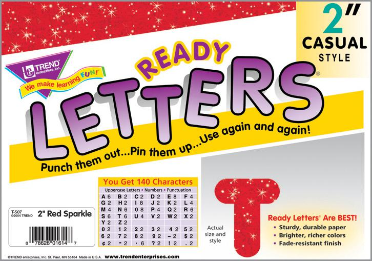 Red Sparkle 2-Inch Casual Uppercase Ready Letters®