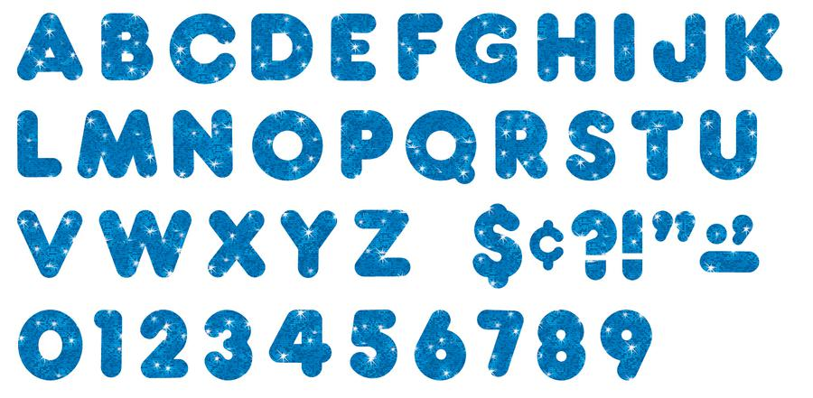 Blue Sparkle 2-Inch Casual Uppercase Ready Letters®