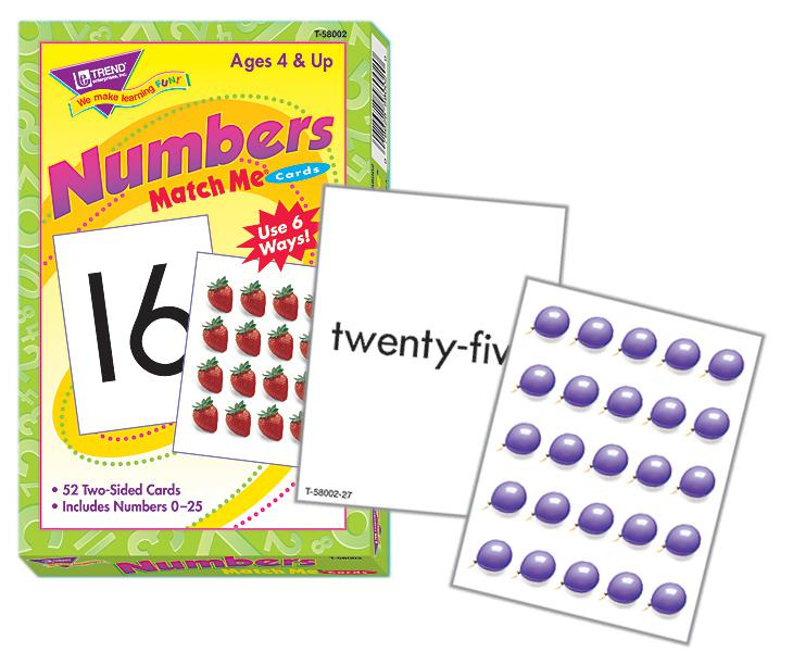 Numbers 0-25 Match Me® Cards