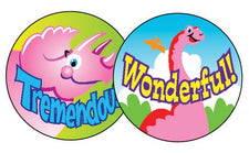 Dino Fun/Strawberry Stinky Stickers®–Large Round
