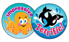 Sea Animals/Blueberry Stinky Stickers®–Large Round
