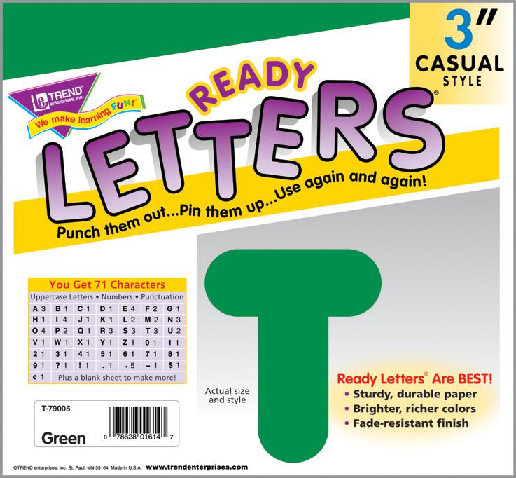 Green 3-Inch Casual Uppercase Ready Letters®