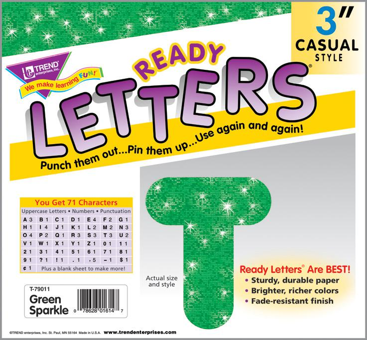 Green Sparkle 3-Inch Casual Uppercase Ready Letters®