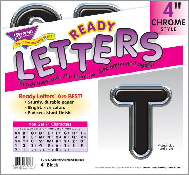 Black 4 Inch Colorful Chrome Ready Letters T 79047