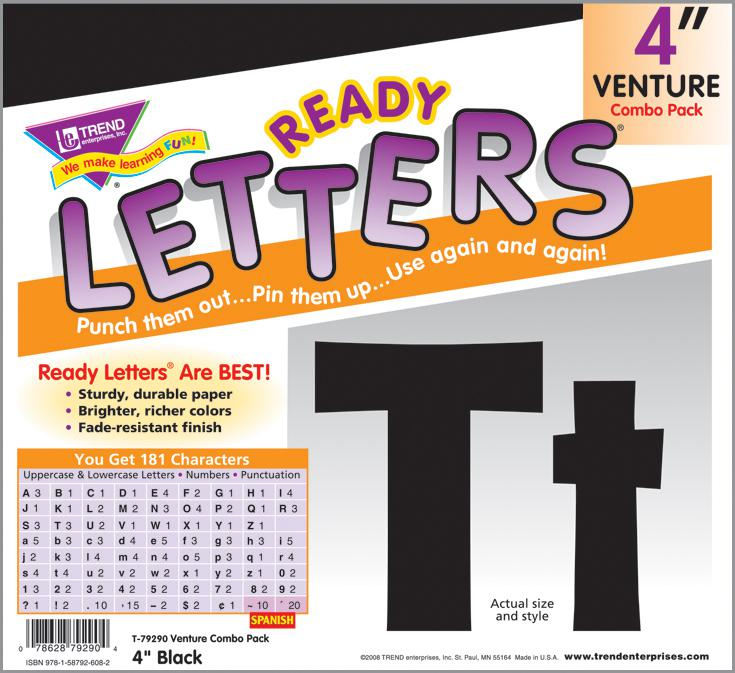 Black 4-Inch Venture Combo Ready Letters®