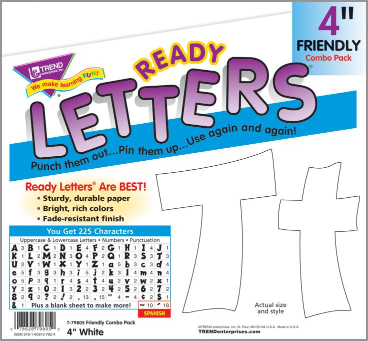"White 4"" Friendly Uppercase/Lowercase Combo Pack Ready Letters®"