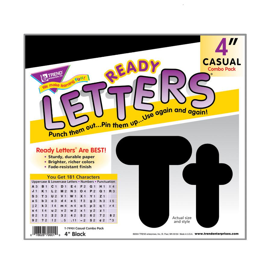 Black 4-Inch Casual Combo Ready Letters®