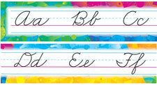 Color Splash Alphabet Line (Zaner-Bloser Cursive) Bulletin Board Set