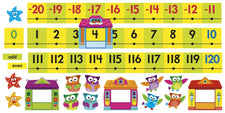 Owl-Stars!® Number Line -20 to 120 Bulletin Board Set