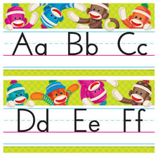 Sock Monkeys Alphabet Line (Standard Manuscript) Bulletin Board Set