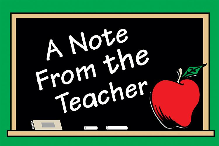 Image result for note from the teacher