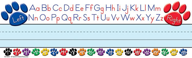 Paw Prints Left/Right Alphabet Name Plates (flat)