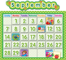 Lime Polka Dot School Calendar Bulletin Board Set