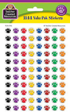 Colorful Paw Prints Mini Stickers Valu-Pak