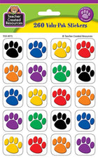 Colorful Paw Prints Stickers Valu-Pak