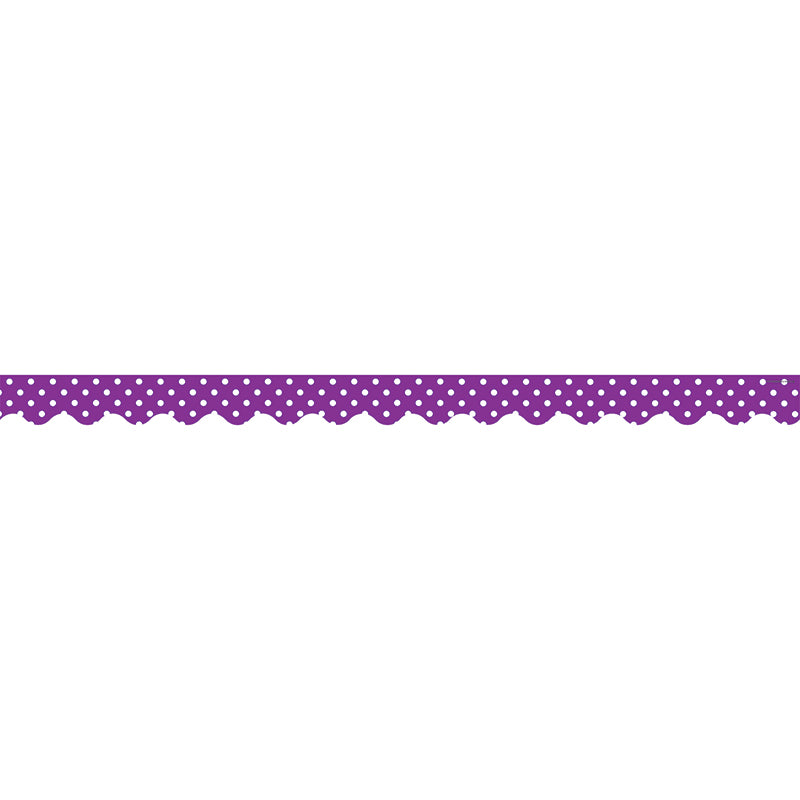 Teacher Created Resources Purple Mini Polka Dots Scalloped Bulletin Board Border Trim